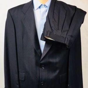 NWT HUGO BOSS 42R Dark Navy Green Striped Suit